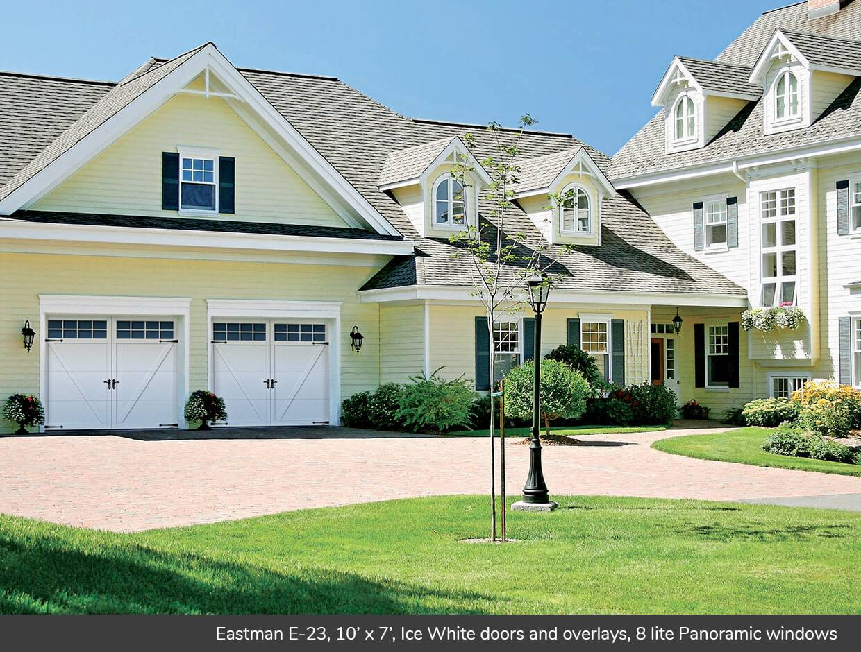 Eastman E-23, 10' x 7', Ice White doors and overlays, Panoramic 8 lite windows
